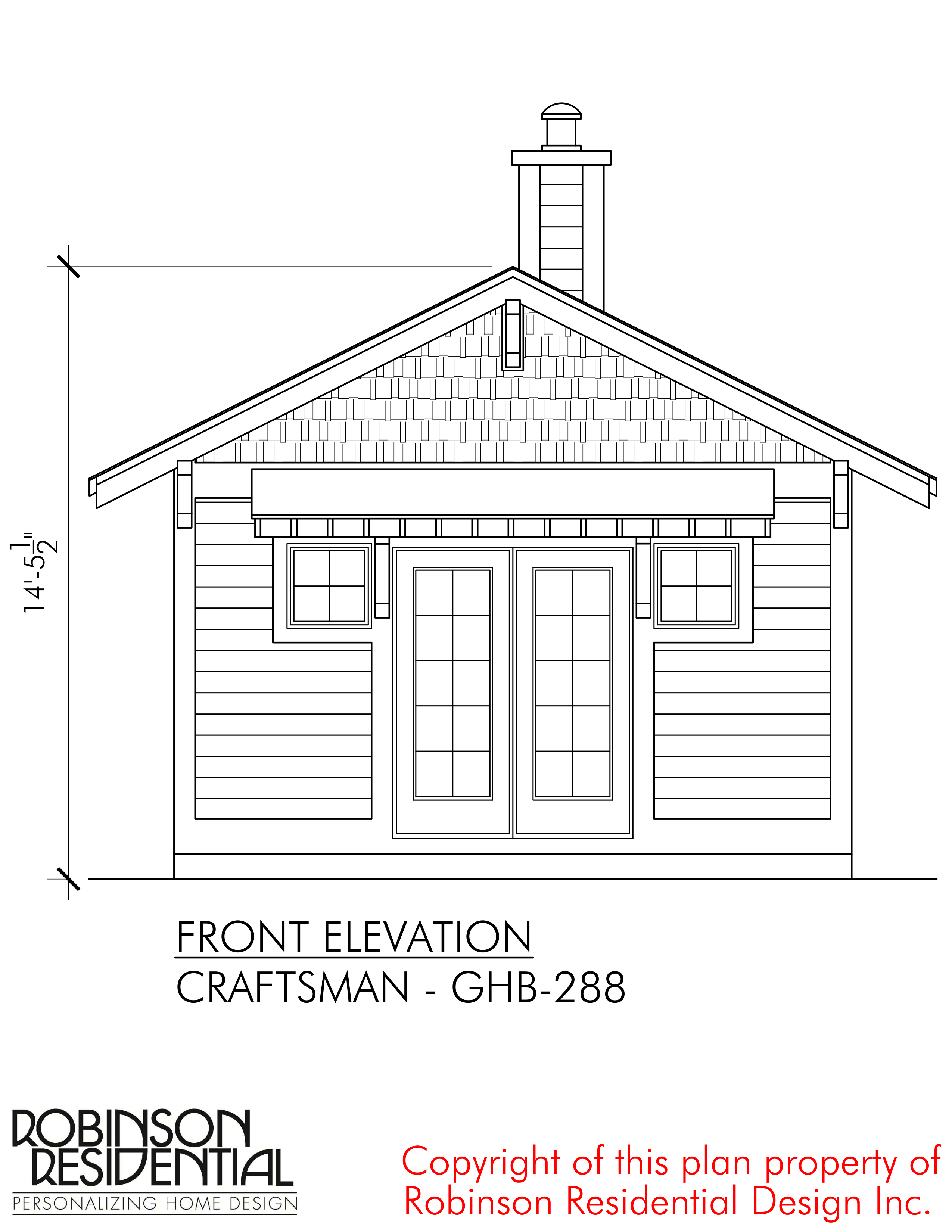 Guest House Front Elevation : Craftsman ghb robinson plans