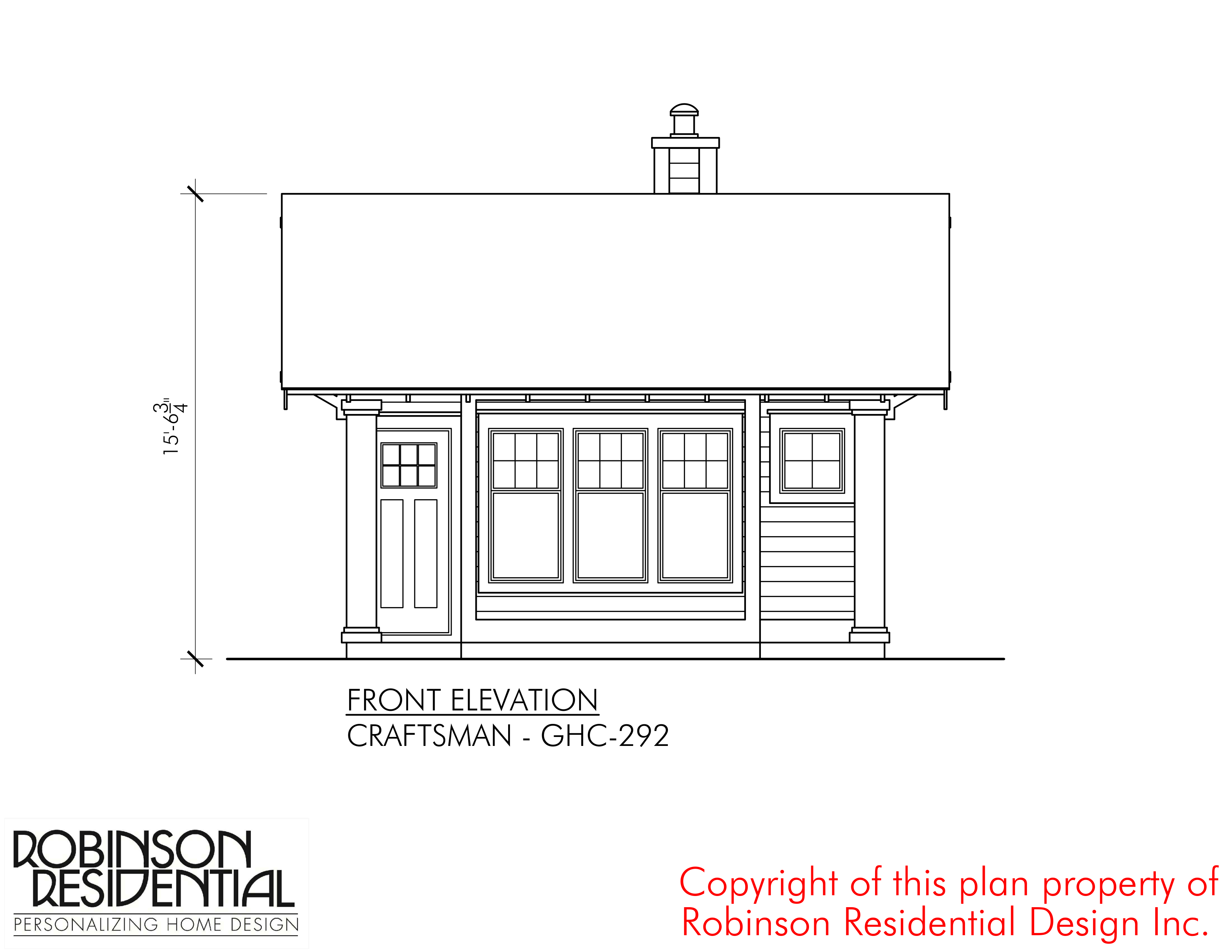 Guest House Front Elevation : Craftsman ghc robinson plans