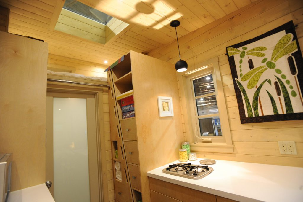 TINY HOUSE PLANS - CONTEMPORARY DRAGONFLY-20 - KITCHEN & BATHROOM DOOR