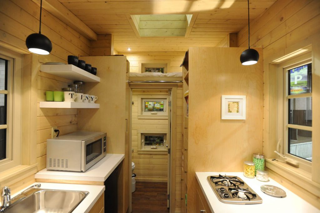 TINY HOUSE PLANS - CONTEMPORARY DRAGONFLY-20 - KITCHEN, LOFT & BATHROOM