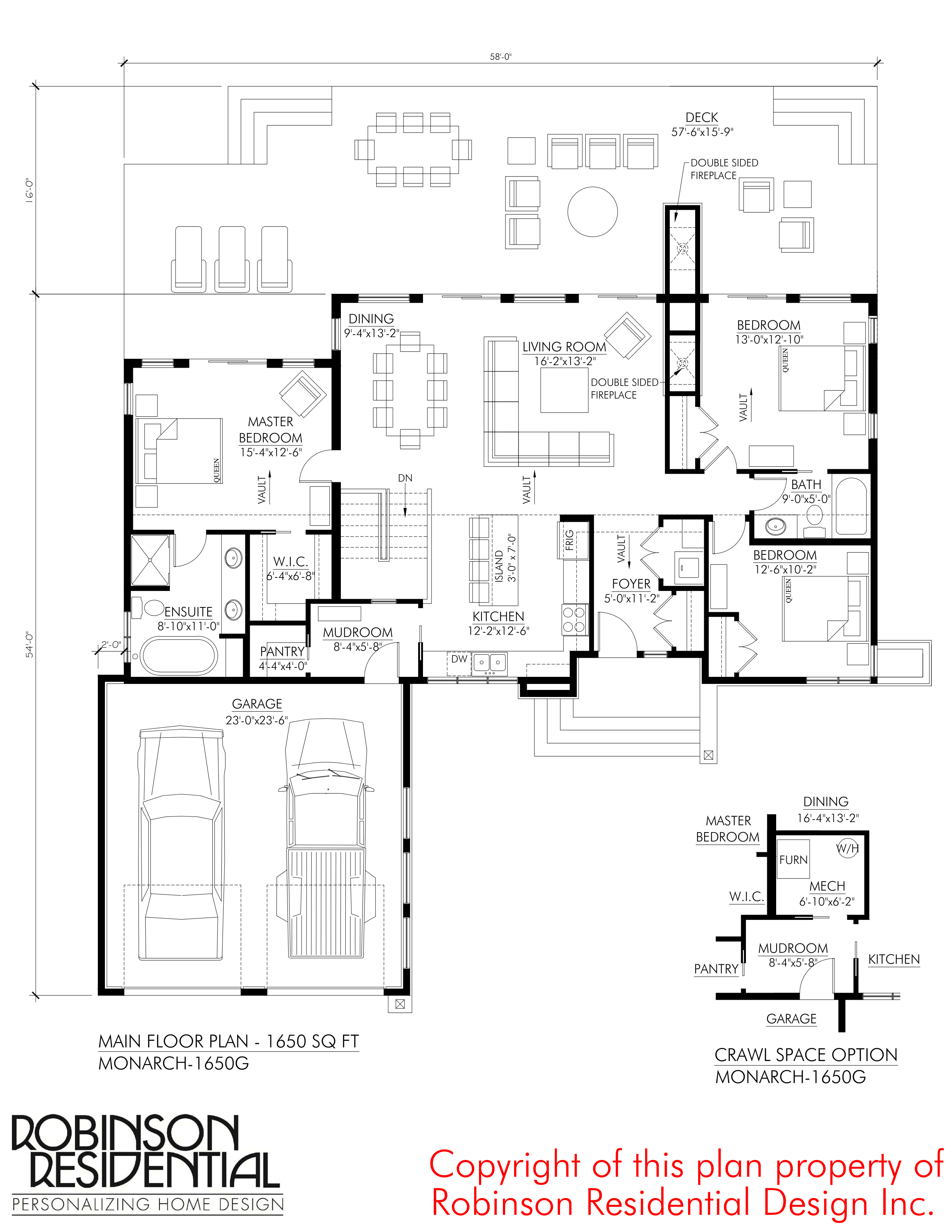 Contemporary monarch 1650g robinson plans for Monarch homes floor plans