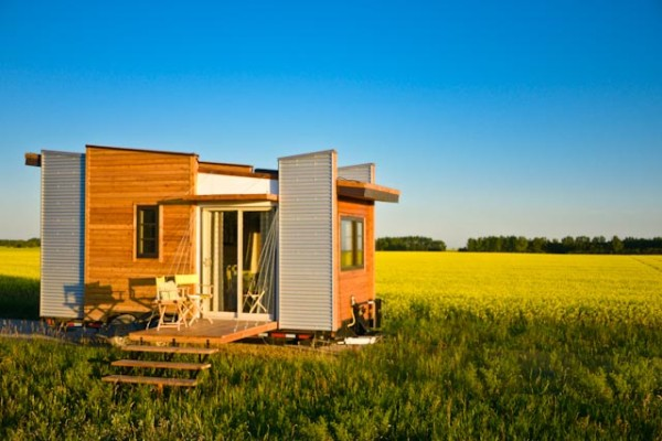 TINY HOUSE PLANS – CONTEMPORARY DRAGONFLY-20 – EXTERIOR IN FIELD 2