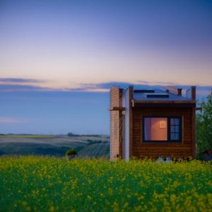 TINY HOUSE PLANS - CONTEMPORARY DRAGONFLY-20 - EXTERIOR AT SUNSET 2