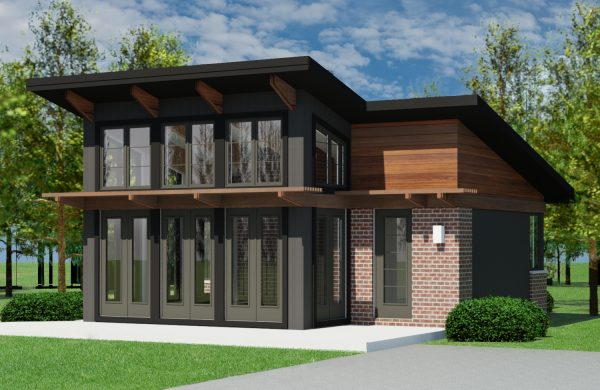 CONTEMPORARY HOME PLANS – BUTTERFLY-600 – FRONT