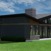 CONTEMPORARY HOME PLANS - BUTTERFLY-600 - REAR