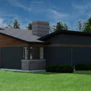 CONTEMPORARY HOME PLANS - BUTTERFLY-600 - REAR 2
