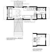 CONTEMPORARY TINY HOUSE PLANS - DRAGONFLY-24 - 01 FLOOR PLAN