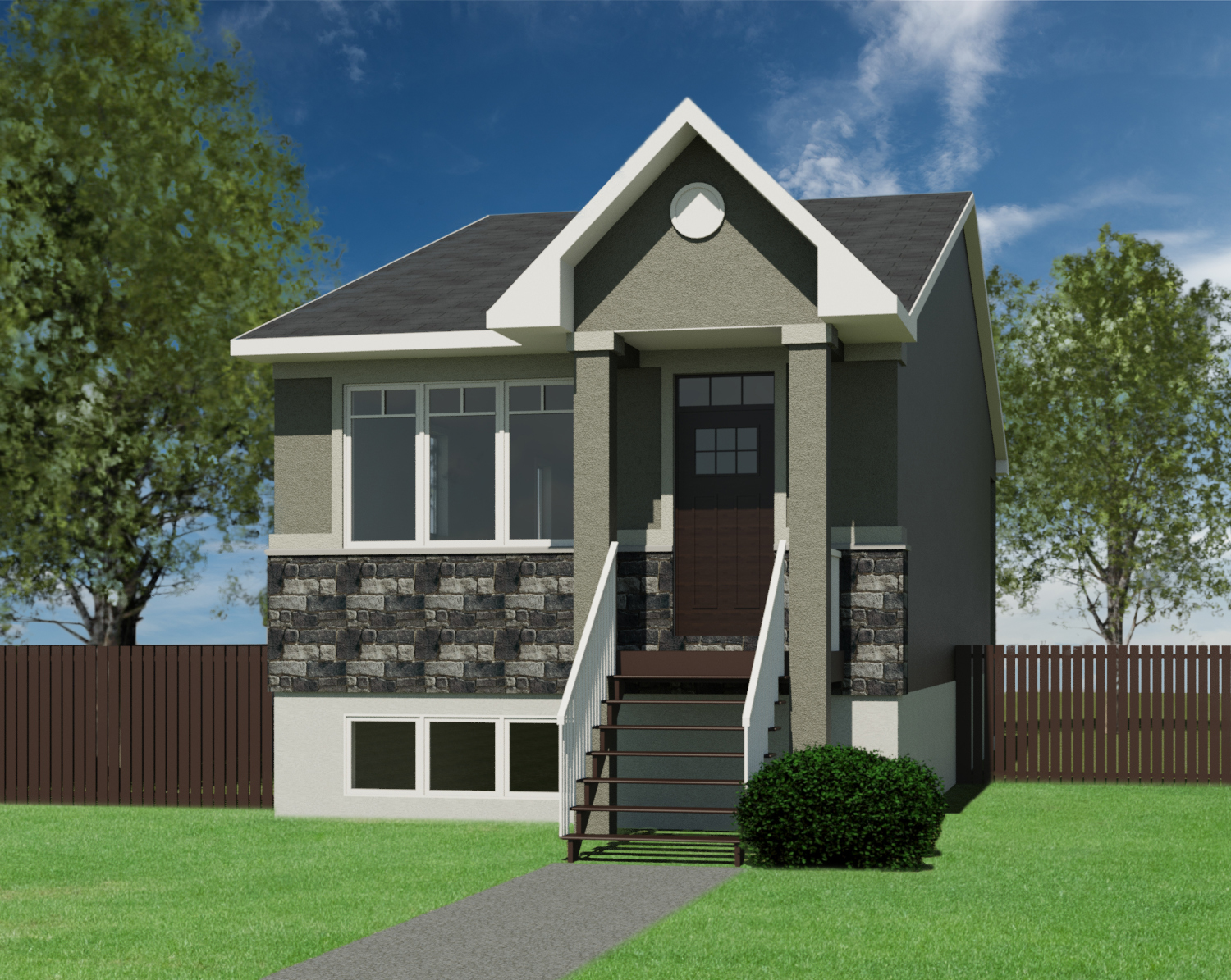 Craftsman Orion-836 on raised bungalow house, raised cottage house, raised ranch house,
