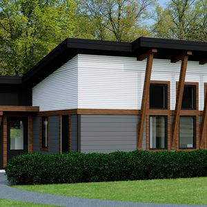 CONTEMPORARY HOME PLANS - CARIBOU-1184 - 4 BDRM